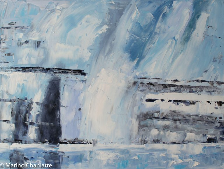 Marino Chanlatte Ocean 77 Ocean Ice Melting Painting Oil On