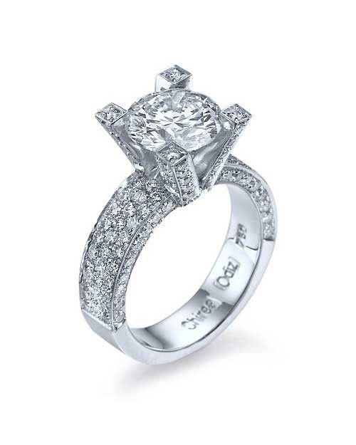 c1b167b15780d 3.70ct F/VS2 Pave Platinum Diamond Engagement Rings | Rings ...