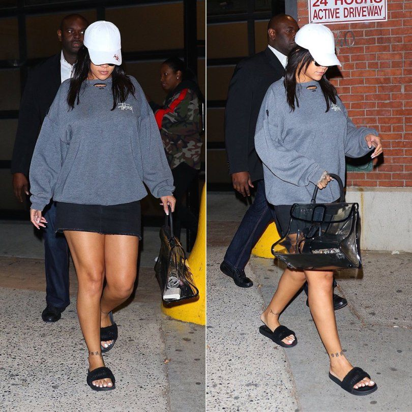 df1940c14d8e Rihanna Wears Stussy After Photoshoot in NYC