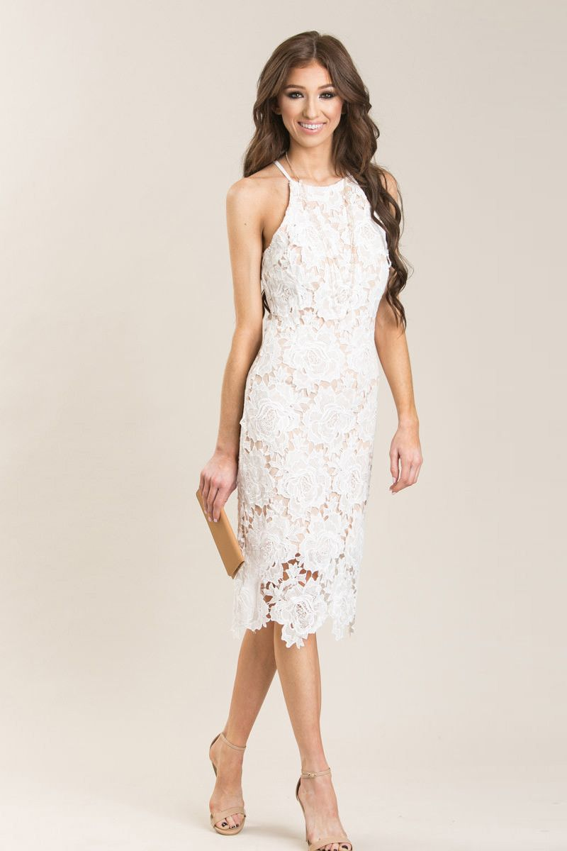 7fe78906ea34 Maya White Lace Halter Midi Dress in 2019 | Outfits | Dresses, Lace ...