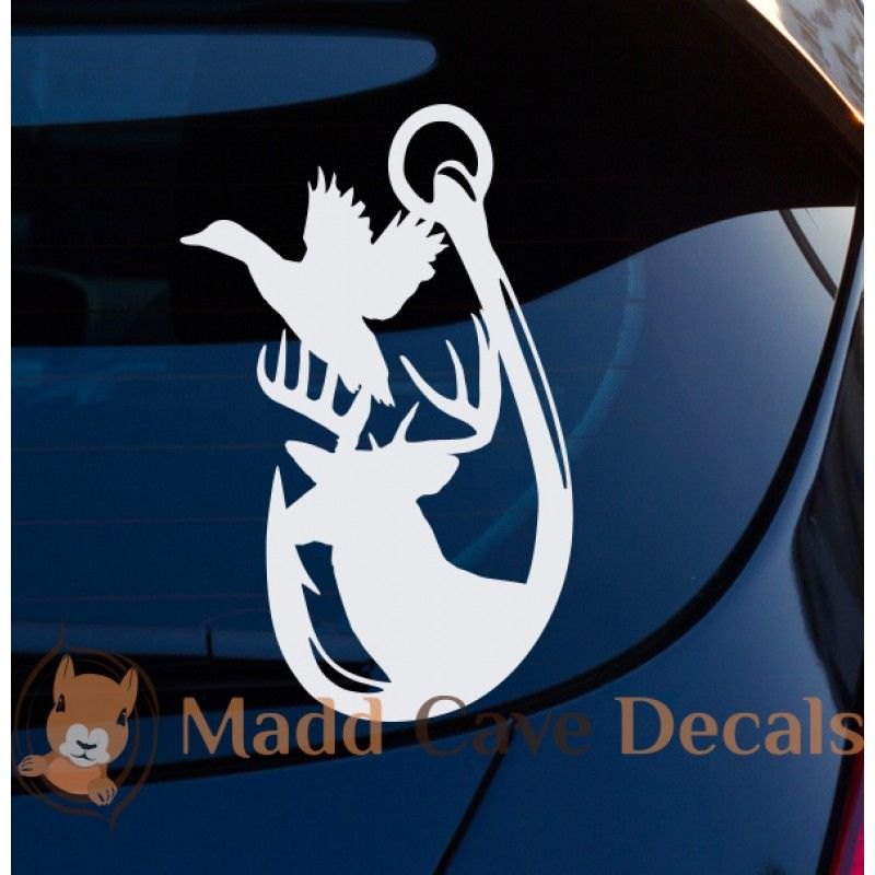 DuckHeadTattoos Fish Hook And Antler Form Duck Head Tattoos - Cool custom vinyl decals for carsfish hook die cut vinyl decal pv projects pinterest fish
