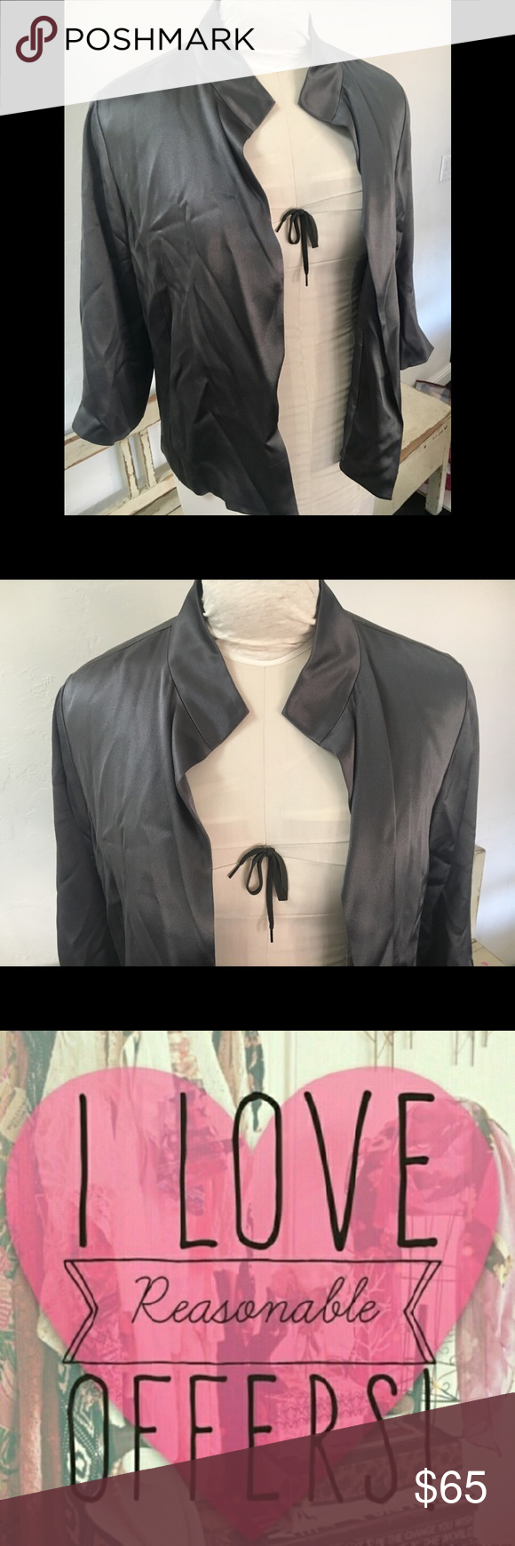 """EILEEN FISHER 100% SILK JACKET  SZ S GRAY LINED PRE OWNED, gently worn and in excellent condition. Eileen Fisher silk jacket. 3/4 sleeves open front , slots in sleeves, 100% silk , color is smokey gray. Jacket is lined. NO STAINS, rips or odors. Smoke free home. SIZE SMALL. ARMPIT TO ARMPIT FLAT SIDE TO SIDE: 20 1/2"""" sleeve length from armpit to bottom: 12"""" Shoulder to shoulder at widest: 17"""" length from top of shoulder to bottom front: 23 1/4"""" back:  22"""" eileen fisher Jackets & Coats"""
