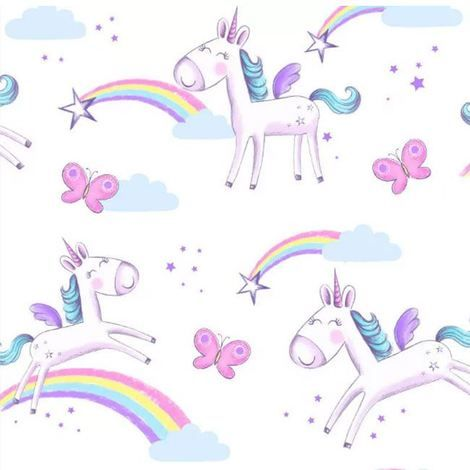 Best Unicorns Wallpaper Border Butterflies Rainbow Stars 400 x 300