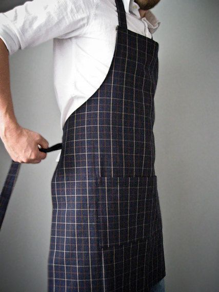 Mens Apron Dark Navy Denim Plaid A Man's Kitchen Pinterest Delectable Mens Apron Pattern