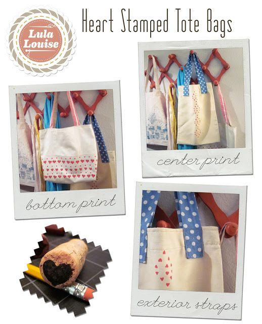 Lula Louise: Tutorial - Heart Stamped Tote Bags | Sewing | Pinterest ...