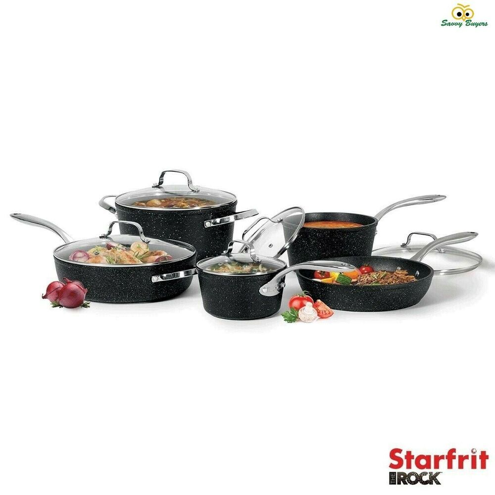 Starfrit The Rock Induction Ready 10 Piece Non Stick Cookware Set