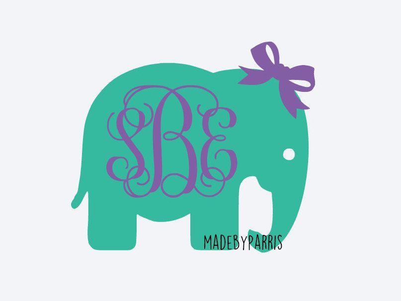 Elephant With Bow Monogram Vinyl Decal Monogram Decal Elephant - Elephant monogram car decal