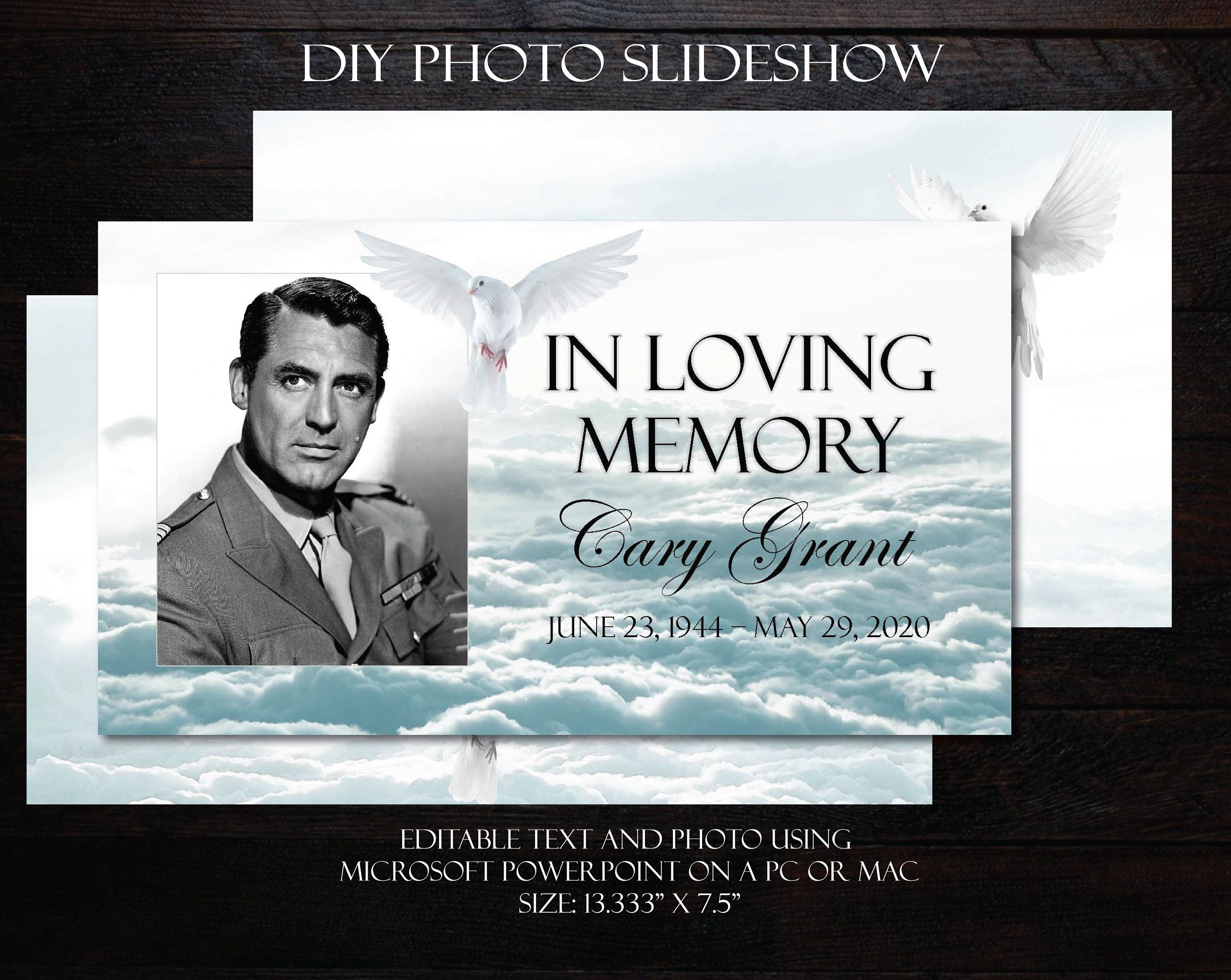 Diy Memorial Photo Slideshow Powerpoint Clouds Dove Male Etsy Photo Slideshow Funeral Program Template Funeral Templates In loving memory powerpoint template
