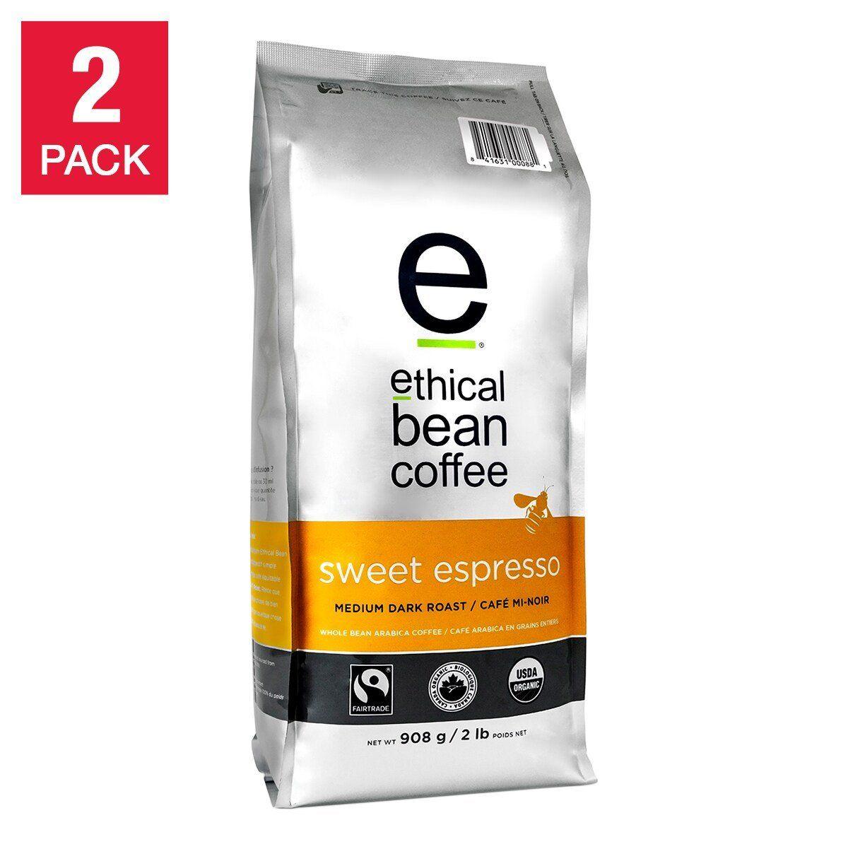Ethical Bean Coffee Sweet Espresso Medium Dark Roast Whole Bean Coffee, 2-pack