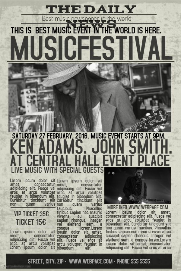 Concert poster template - Newspaper ad theme. Click on the image to ...