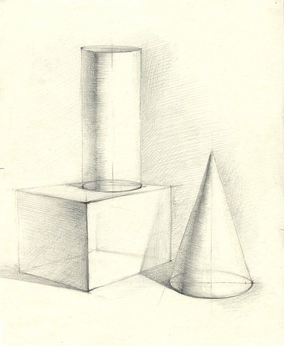 Original pencil drawing, linear perspective study with cylinder, parallelepiped and cone Year: 2007 Medium: graphite pencil, paper Size(drawing):
