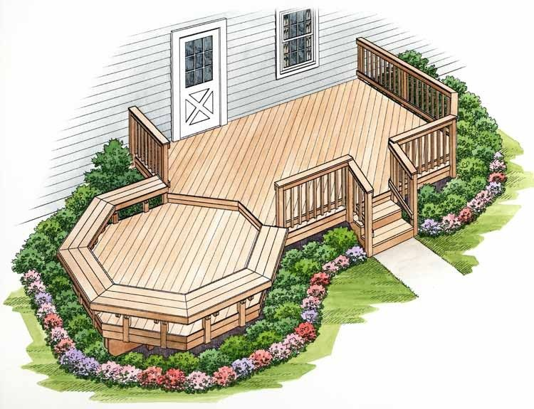 Eplans deck plan octagonal bay surrounded by floating for Octagon deck plans free