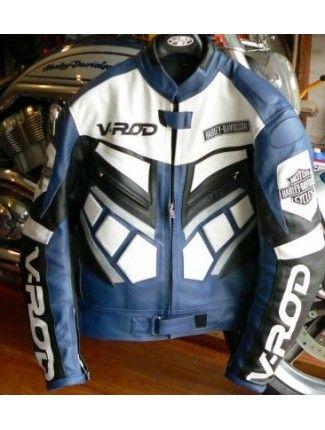 Blue Harley Davidson V Rod Motorcycle Biker Leather Jacket Harley Davidson V Rod Cheap Leather Jacket Jackets