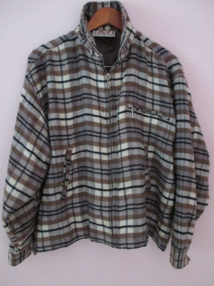 VintageWomen's  Plaid Wool Grunge Coat Jacket L  Rockabilly Retro Zipper acrylic #hex #jacket