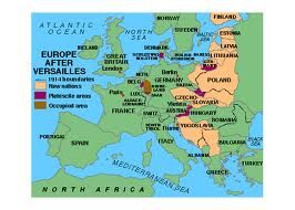 A map of Europe after the Treaty of Versailles in 19191920