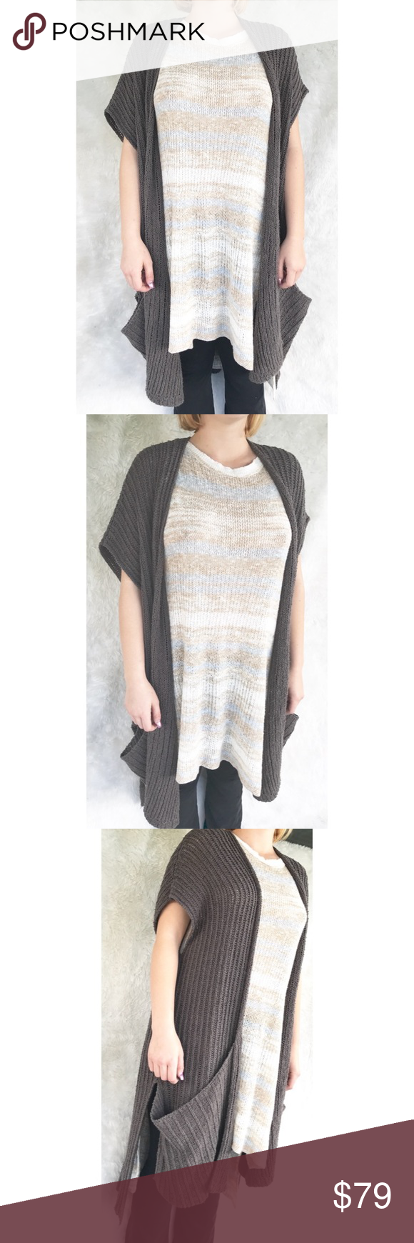 FREE PEOPLE Taupe Chunky Cardigan | Chunky cardigan, Long cut and ...