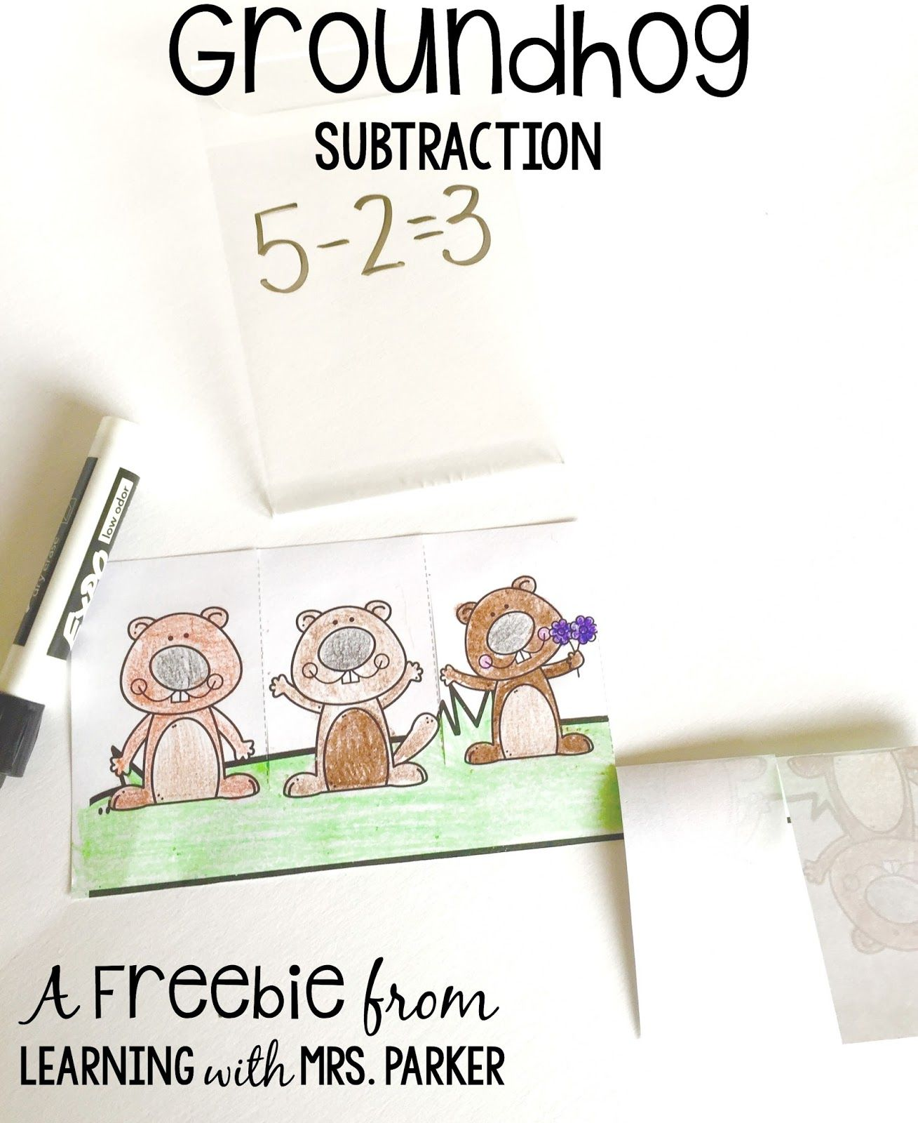 A Subtraction Freebie To Go With Ten Grouchy Groundhogs