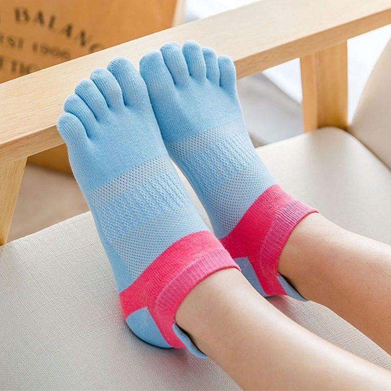 PrintSmile Face women invisible toe sock Light blue