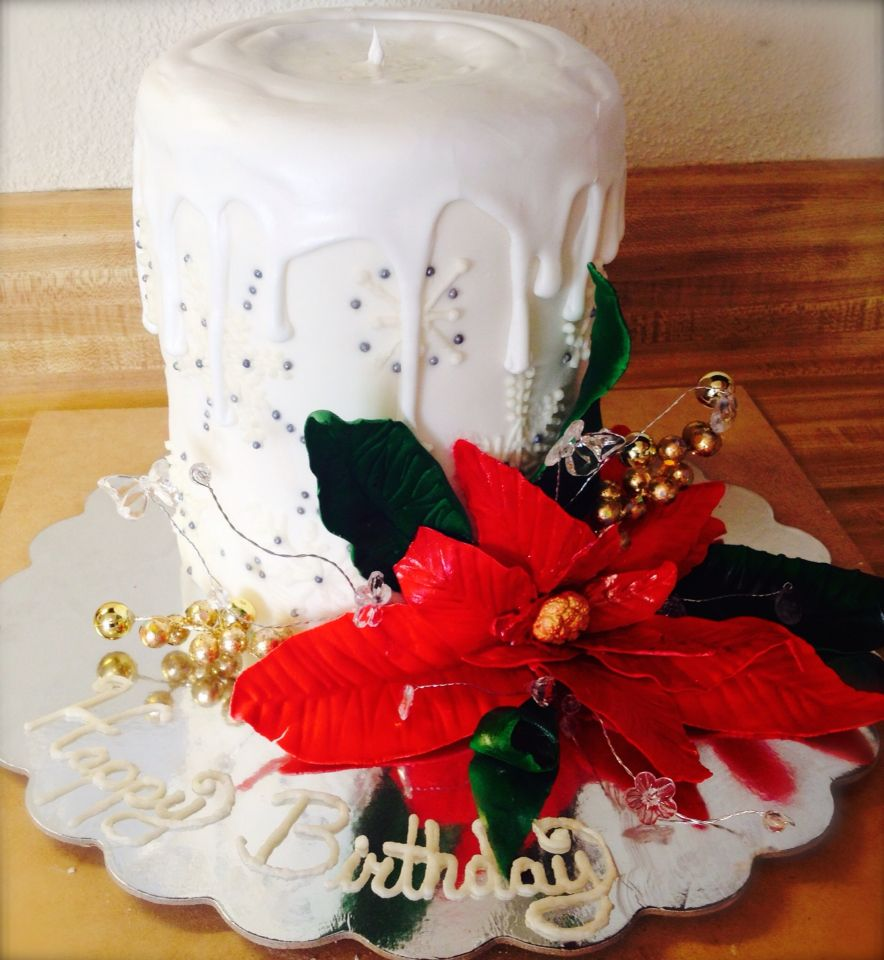My mom's 55th birthday cake! She wanted it to be christmas like, so I thought a candle would be nice :)