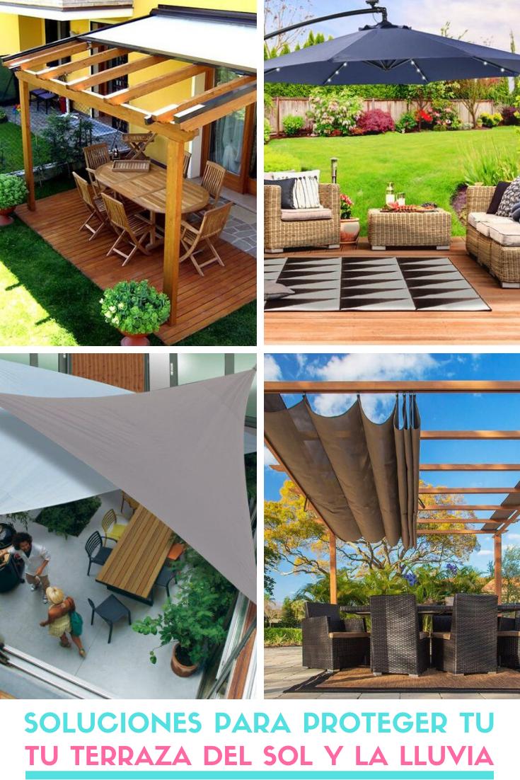 Soluciones Para Proteger Tu Terraza Del Sol Y La Lluvia Decoracion De Patio Exterior Diseno De Patio Sombrillas Para Terrazas