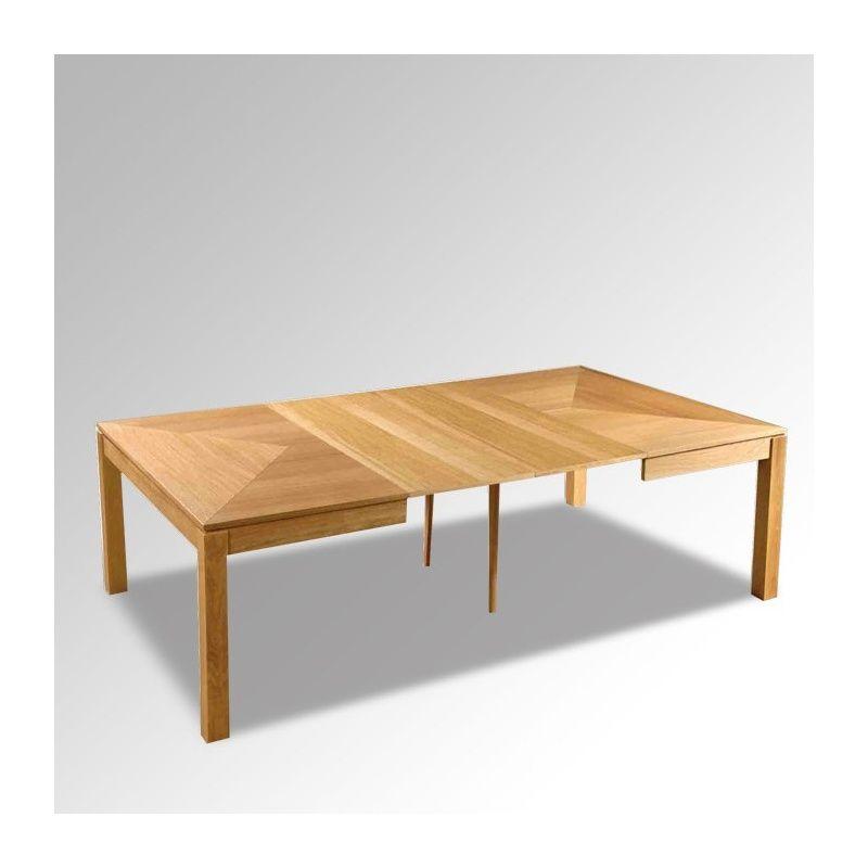 table en bois massif carre extensible moderne mc - Table Carree Extensible Bois
