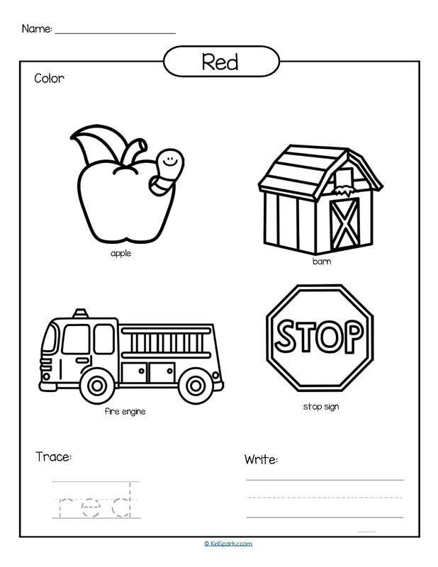 Color red printable - color, trace and write. | teach ideas ...