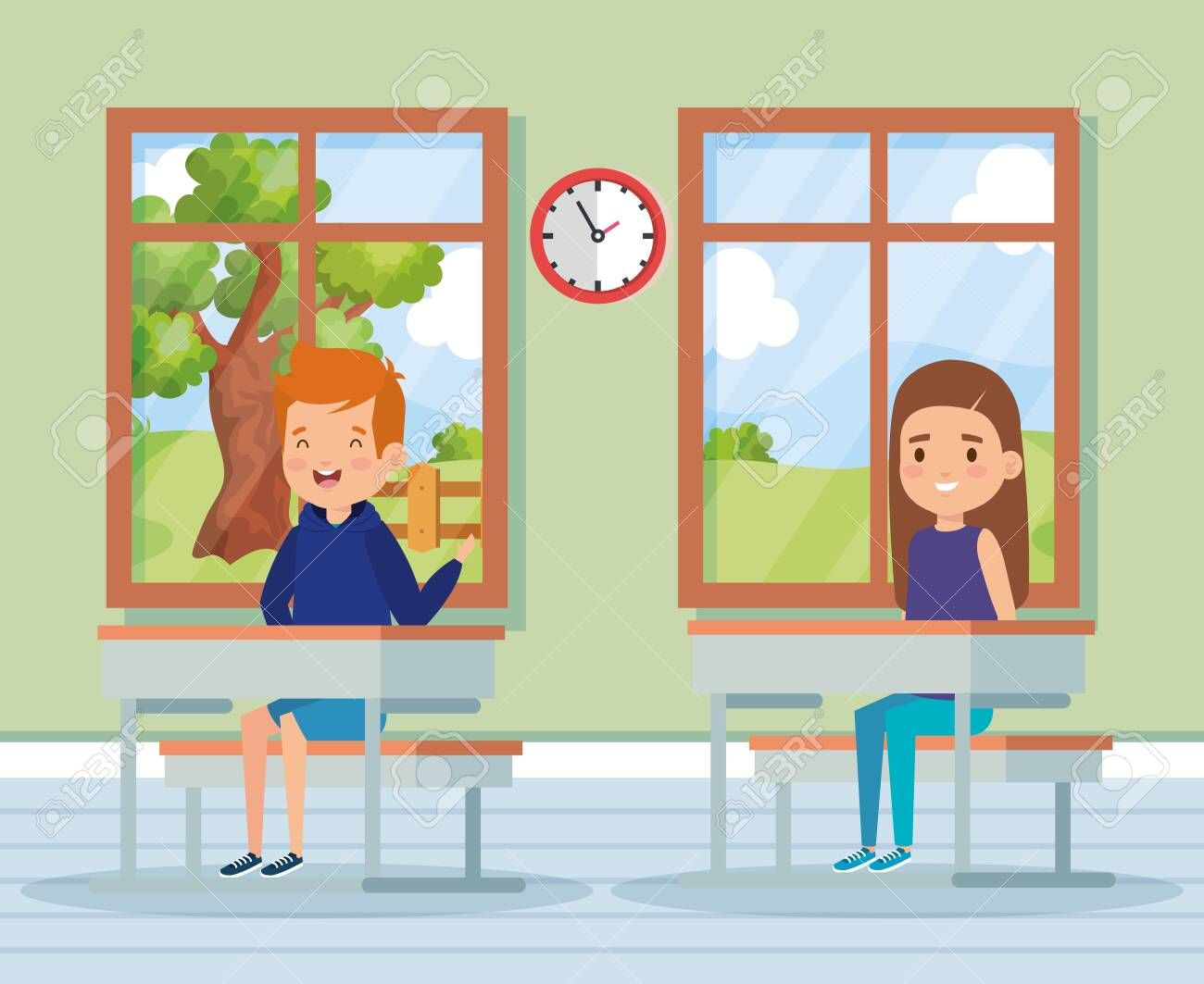 boy and girl childrem education in the classroom with desk and windows vector illustration ,
