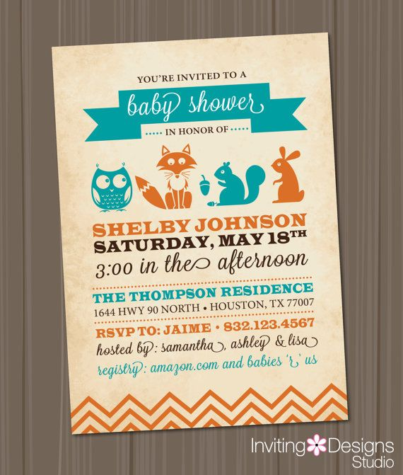 woodland baby shower invitation, owl, fox, rabbit, animals, girl,