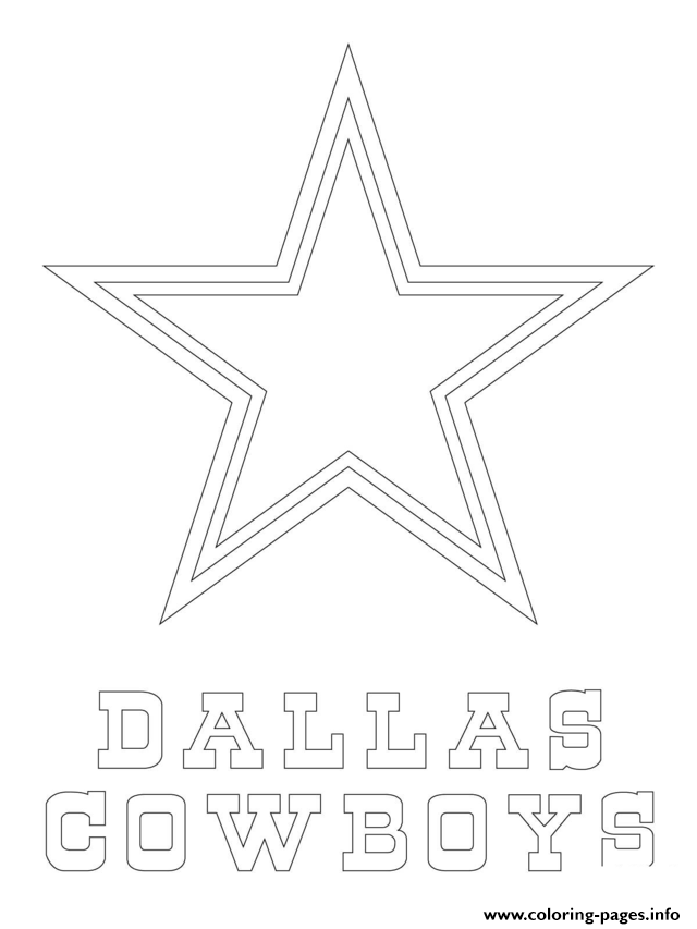 print dallas cowboys logo football sport coloring pages - Football Printable Coloring Pages