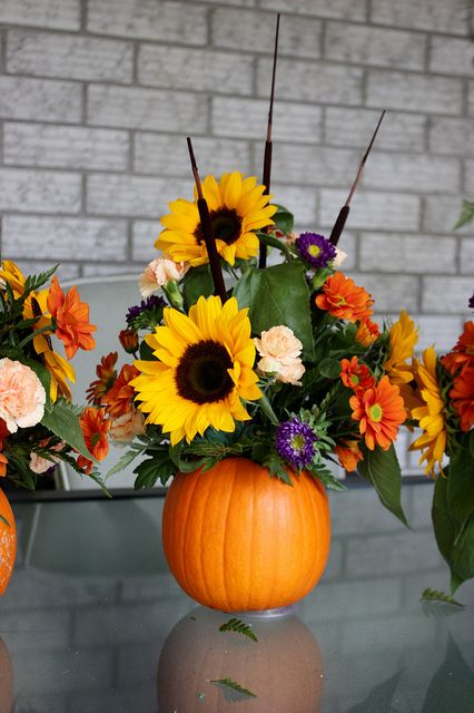 Pumpkin Vase Flower Arrangement Thanksgiving Centerpiece