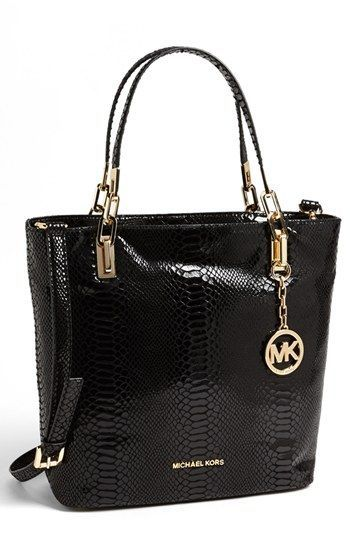 6d1c72187708 $358, Black Leather Tote Bag: MICHAEL Michael Kors Michl Michl Kors Brooke  Medium Leather Tote Black. Sold by Nordstrom. Click for more info:  lookastic.com/ ...