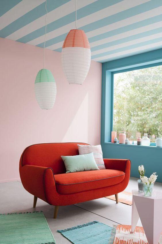 Quelle peinture quelle couleur autour d\u0027un canapé rouge Salons