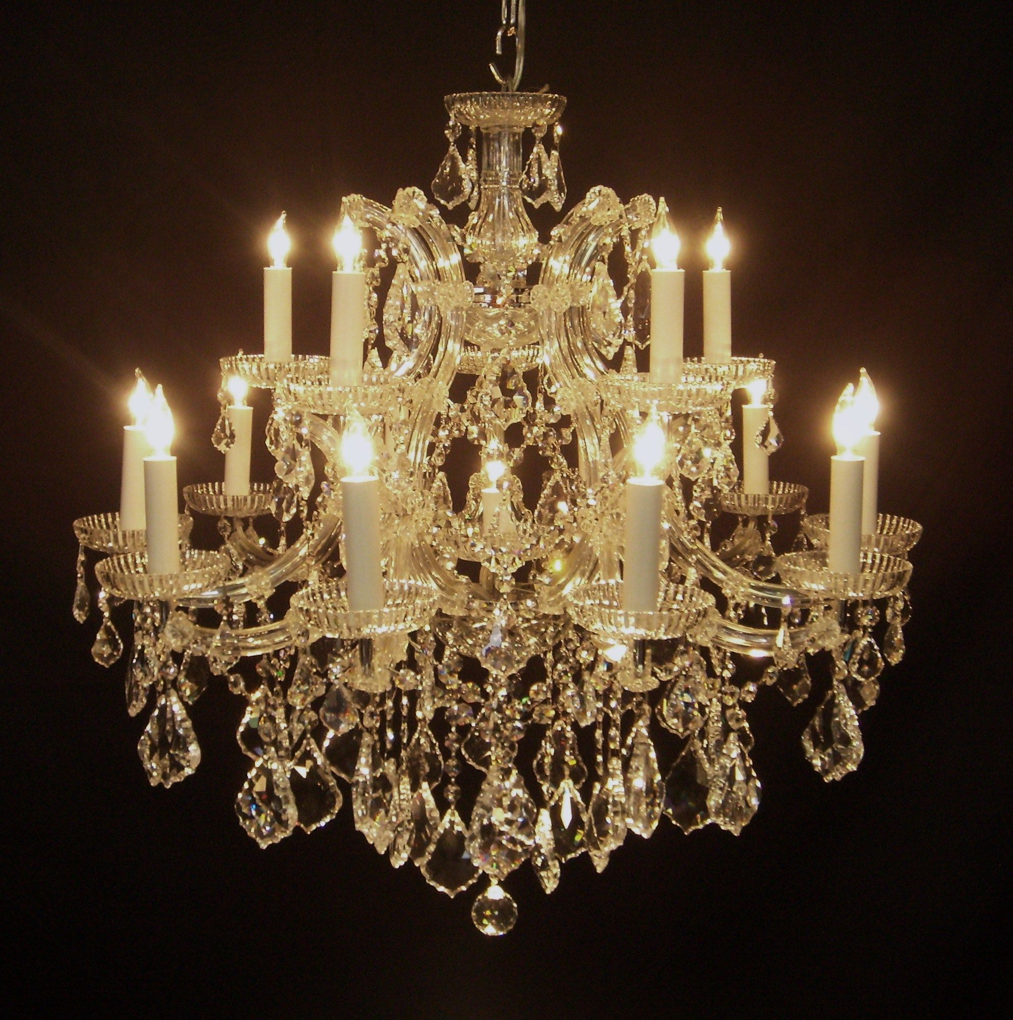 Antique Chandeliers 16 Light Silver Italian Crystal Chandelier
