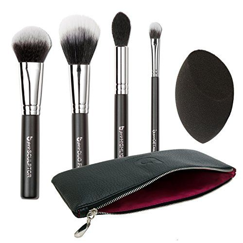Beauty Blender Or Brush For Full Coverage: Premium Contouring Highlighting Kit 5 PC Synthetic Makeup