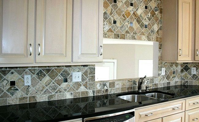 Kitchen Backsplash For Black Granite Countertops backsplashes with black granite countertops | antiqued travertine