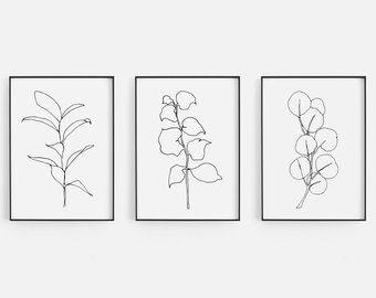 Sage Green Botanical Prints Set, Dark Green Leaf Prints, Botanical Wall Art, Large Leaf Print Set, Forest Green Leaves, Botanical Art Set -   13 minimalist planting Art ideas