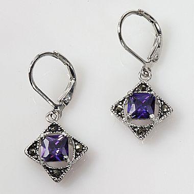Jcpenney Jewelry Amethyst Cz Marcasite Earring Women S