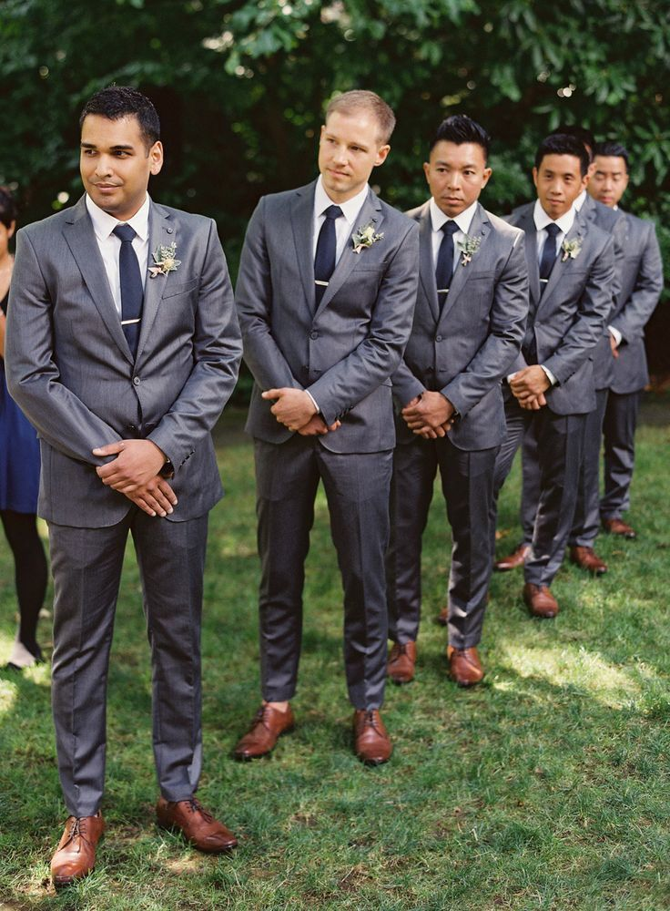 Dark Grey Groomsmen Suits with Brown Shoes