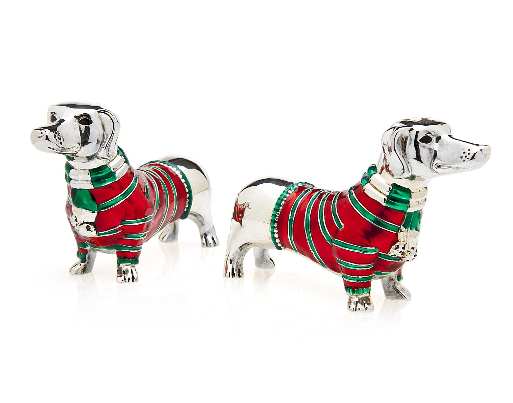 These adorable Dachshunds are wearing their sweaters and scarves and they will look adorable on display all winter long.  Dachshund Salt and Pepper Set - Premier Home & Gifts
