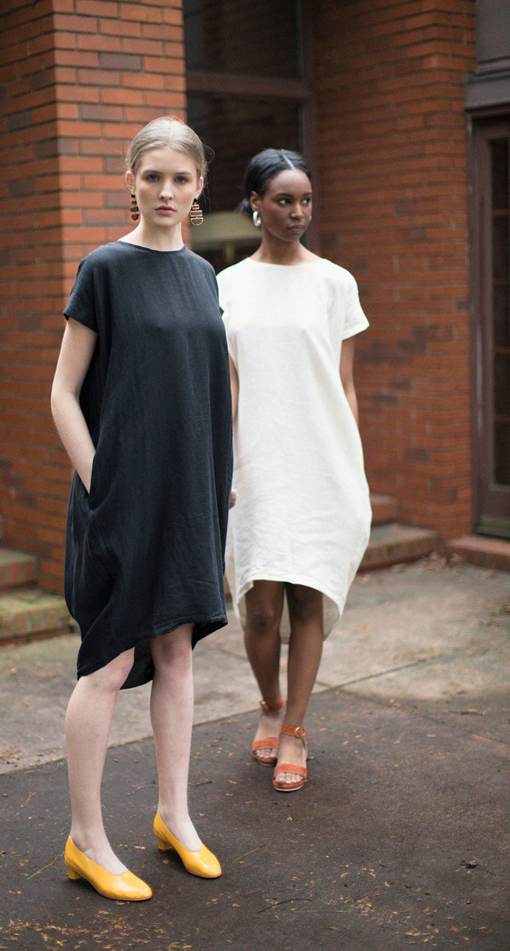 Black Crane Pleated Cocoon Dress in Black & Cream with Martiniano Yellow  High Glove & Lizzie