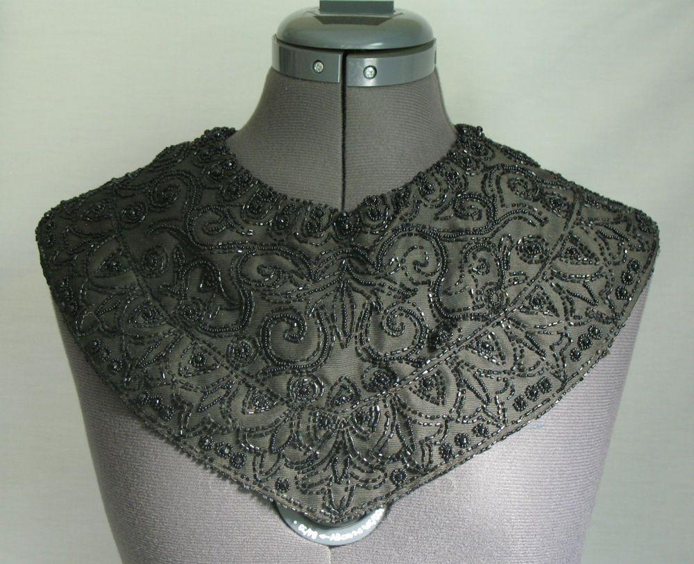 1920s Vintage Hand Sewn Jet Black Glass Beaded Collar