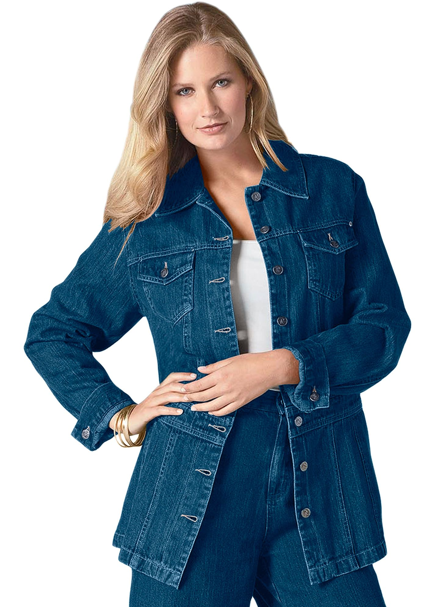 18b183cae8c Plus Size Long Jean Jacket image