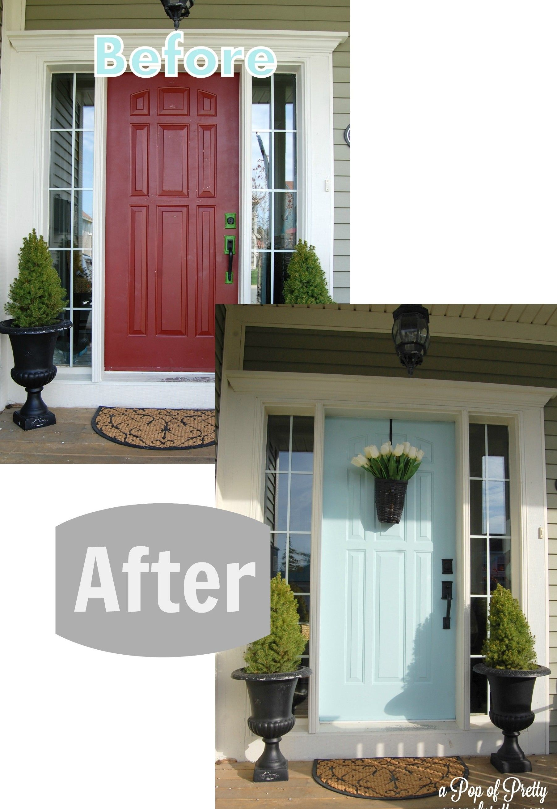 Green House Blue Door Part 2 Before After Home Exterior