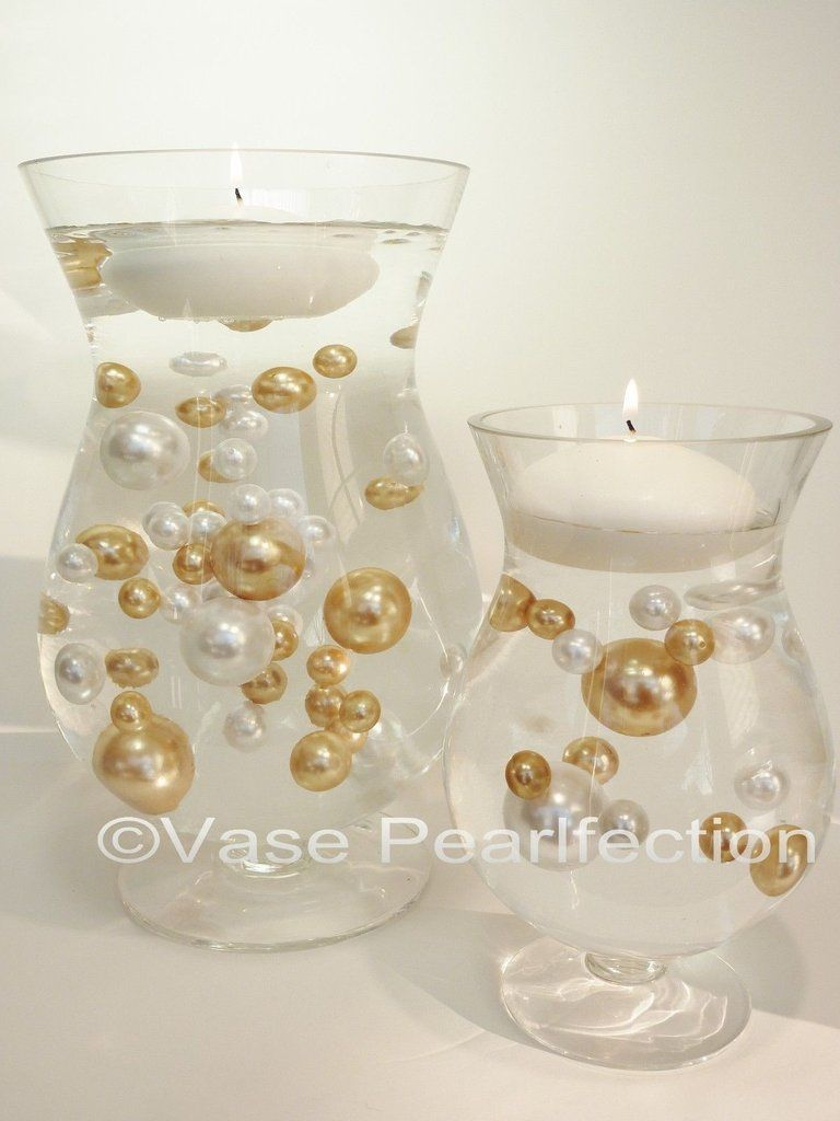 Gold & White Pearls - Jumbo/Assorted Sizes Vase Fillers for ...