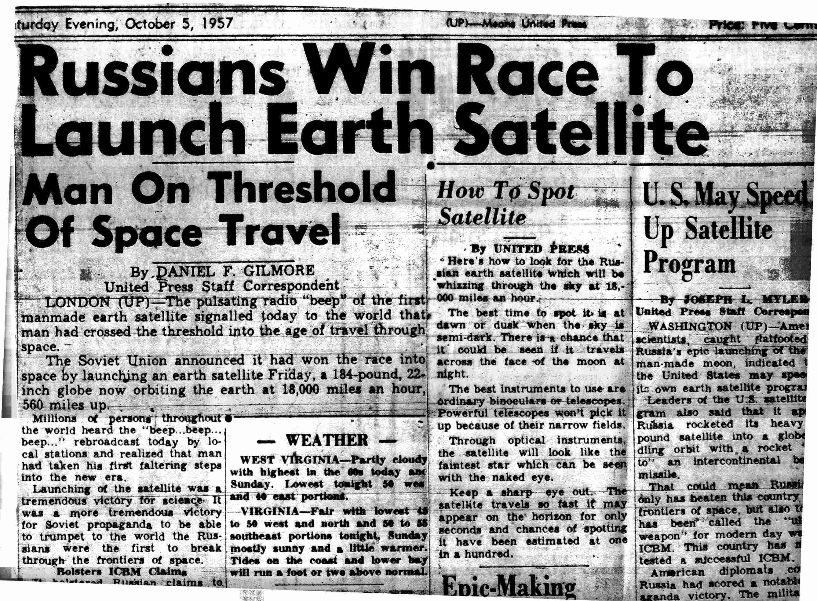 The first artificial earth satellite it was launched by moscow in 1957 and sparked u fears of soviet dominance in technology and outer space