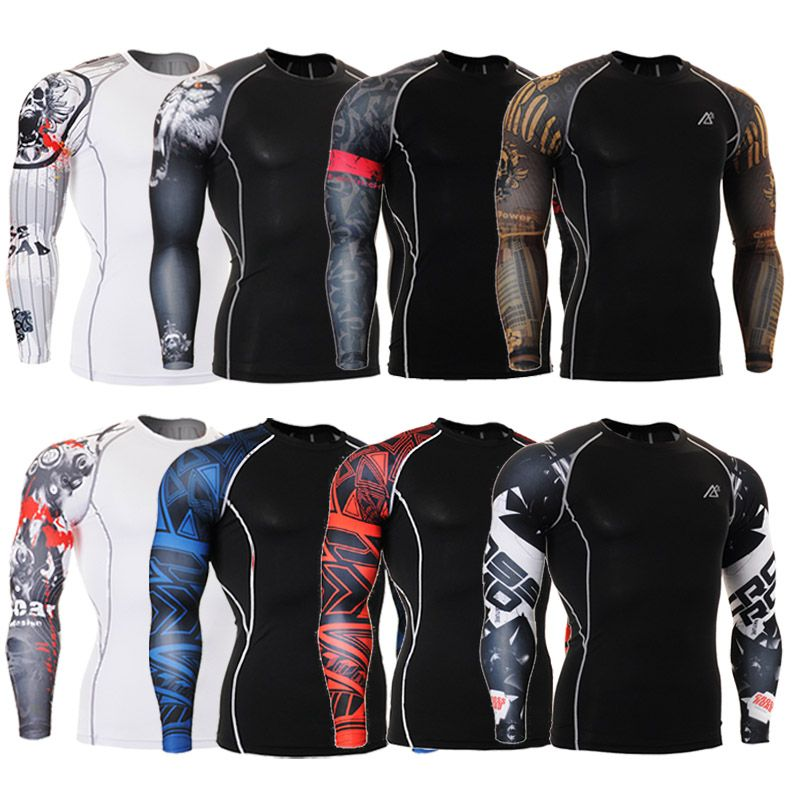 b00ee5c0222b0 Muscle Men Compression Tight Skin Shirt Long Sleeves 3D Prints MMA  Rashguard Fitness Base Layer Weight Lifting Male Tops Wear