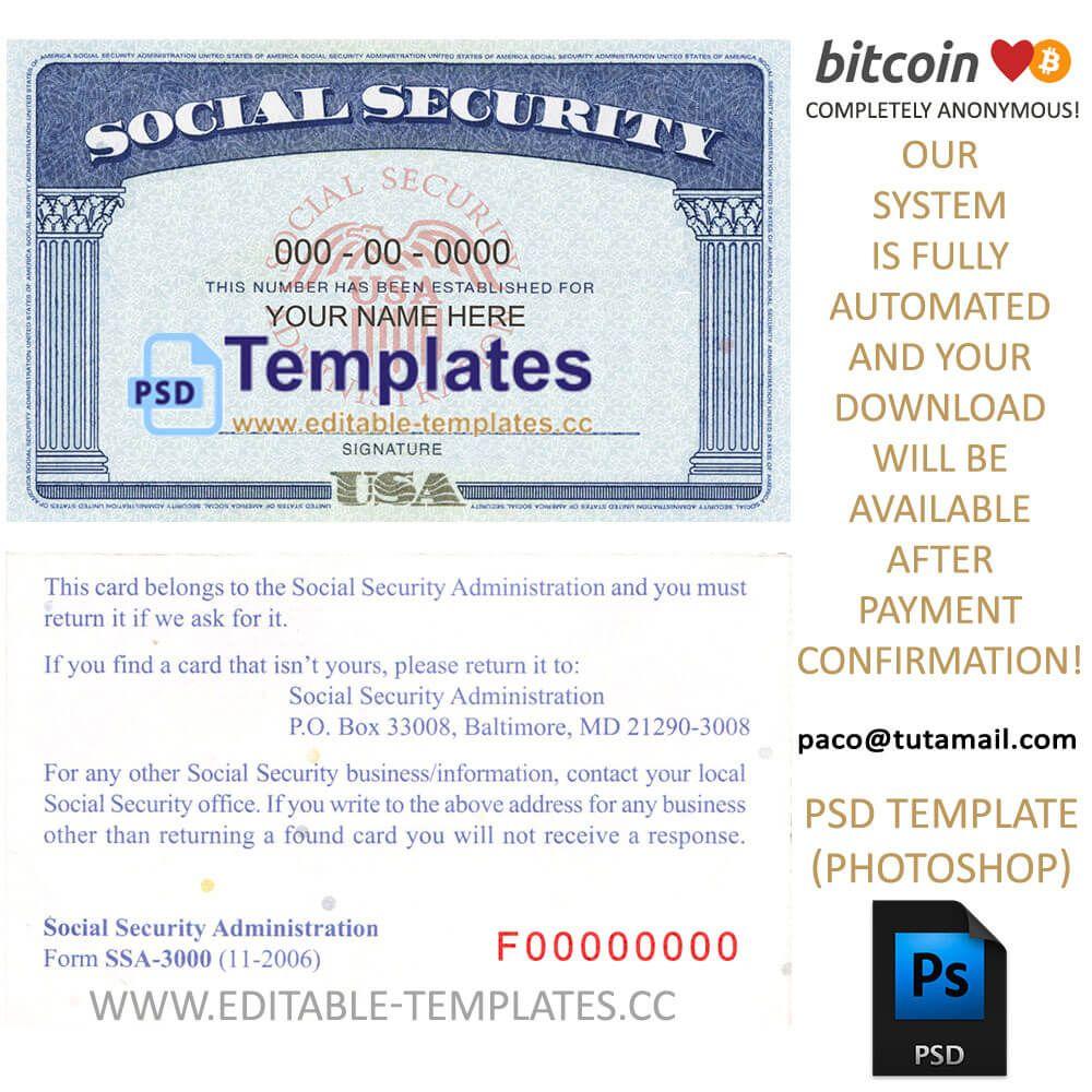 Ssn Usa Social Security Number Template Intended For Ssn Card Template Card Template Social Security Card Psd Templates