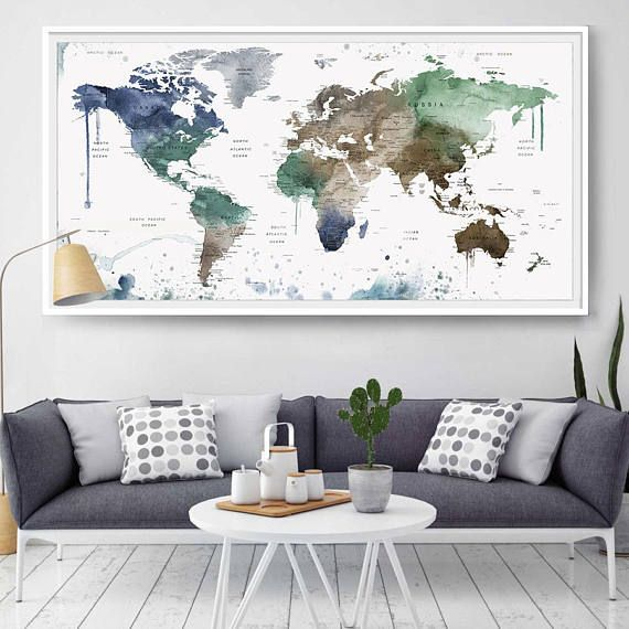 Large wall art world map home decor world map push pin personalized large wall art world map home decor world map push pin gumiabroncs Images