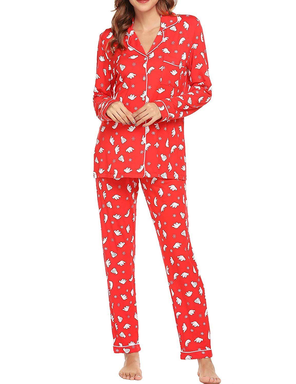 Ekouaer Pajamas Set Womens Long Sleeve Button Down Shirt Sleepwear 2 Piece Nightwear with Pants Soft Pjs