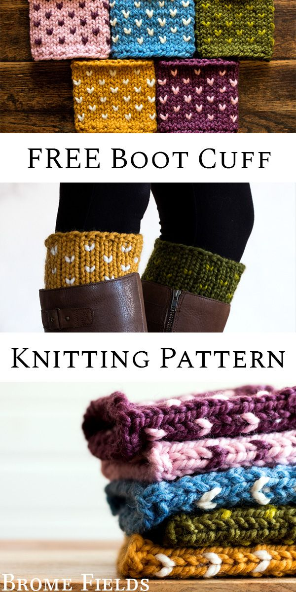 FREE Fair Isle Boot Cuff Knitting Pattern by Brome Fields #bootcuffs